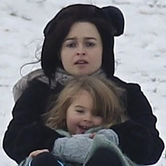 Tim Burton and Helena Bonham Carter Play In The Snow With Their Kids