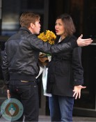 "Pregnant Maggie Gyllenhaal Films ""The Corrections"" in New York City"