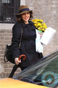"""Pregnant Maggie Gyllenhaal Films """"The Corrections"""" in New York City"""