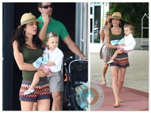 Bethenny Frankel with husband Jason and daughter Bryn in Miami