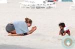 Doutzen Kroes & her son Phyllon @ the beach in Miami