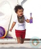 Doutzen Kroes' son Phyllon at the beach in Miami