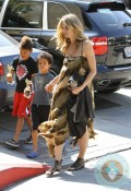 Heidi Klum with boys Johan and Henry at Karate