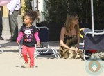 Heidi Klum with daughter Lou at a Beach birthday pty