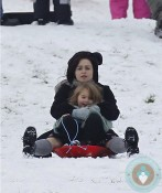 Helena Bonham Carter and daughter Nell sled in Primrose Hill Park