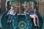 Jaime Pressly and son Dezi at the park