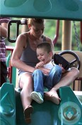 Jaime Pressly & son Dezi at the park