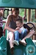 Jaime Pressly & son Dezi at the park