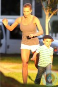 Jaime Pressly with son Dezi at the park