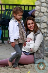 Jessica Alba at the park with daughters Honor and Haven