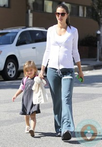 Pregnant Alessandra Ambrosio with daughter Anja