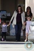 Pregnant Jennifer Garner leaving the beach with her girls