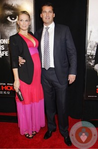 Pregnant Molly Sims and Scott Stuber at The New York Premiere of 'Safe House'