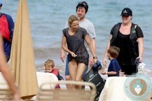 Sheryl Crow with sons Wyatt & Levi in Hawaii