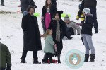 Tim Burton and Helena Bonham Carter sled with their kids in London