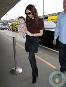 Victoria and Harper Beckham at LAX airport