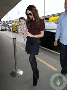 Victoria and Harper Beckham at LAX airport
