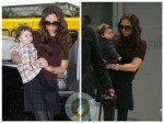 Victoria and Harper Beckham at the airport