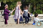 Violet and Seraphina Affleck play at the beach in Santa Monica
