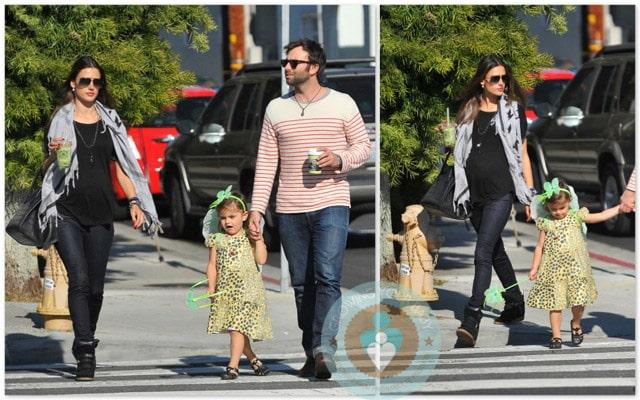 pregnant Alessandra Ambrosio with daughter Anja & boyfriend Jamie