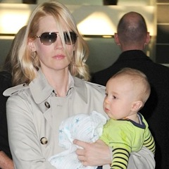 January Jones Arrives in NYC With Son Xander