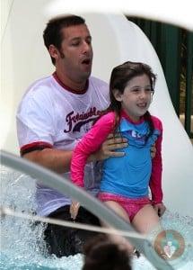 Adam Sandler and daughter Sadie waterslide Miami