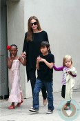 Angelina Jolie out in New Orleans with Pax, Vivienne & Zahara