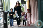 Angelina Jolie out in New Orleans with Pax, Vivienne and Zahara