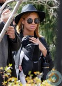 Beyonce Knowles and baby Blue Ivy in Tribeca