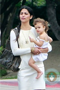 Camila Alves with daughter Vida at church
