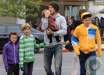 David Beckham with kids Cruz, Romeo, Brooklyn and Harper