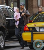 David Blaine with daughter and fiancee Alizee Guinochet
