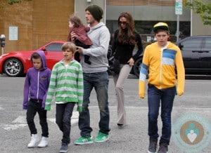 David and Victoria Beckham with Harper, Cruz, Romeo, Brooklyn