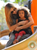 Heidi Klum and daughter Lou at the park