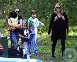 Heidi Klum with kids Henry, Leni and Lou