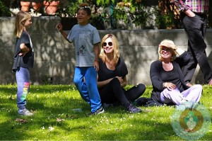 Heidi Klum with mom Erma and kids Lou and Henry