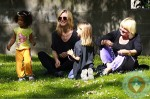 Heidi Klum with mom Erma and kids Lou and Leni at the park