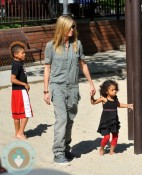 Heidi Klum with son Johan and daughter Lou at the park