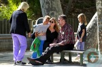 Heidi klum with kids Henry and Leni at the park