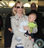 January Jones and son Xander at JFK airport