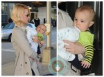 January Jones with son Xander at JFK