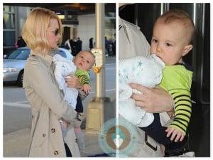 January Jones with son Xander at JFK