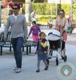 Jessica Alba, Cash Warren with daughters at the park