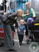 Julie Bowen with twins John & Gus Phillips at petting zoo