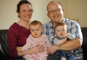 Georgina Cormack with 10 month old twins Connie and Oscar and dad Sean