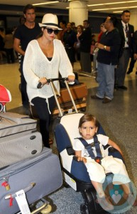 Kourtney Kardashian, Scott Disick, Mason Disick at LAX
