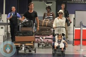Kourtney Kardashian, Scott Disick and Mason Disick at LAX