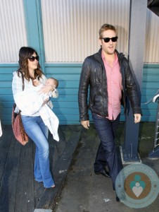 Lindsay Price, Curtis Stone with son Hudson in Sydney