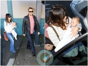 Lindsay Price and Curtis Stone with son Hudson in Sydney