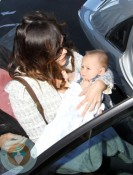 Lindsay Price with son Hudson in Sydney